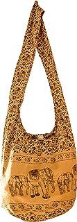 SLING Bag COTTON 40 PRINTs Männer oder Frauen CROSSBODY Tasche LARGE BOHO Hippie Hobo Handtasche (Yellow ELEPHANT)