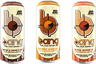 Bang Keto Coffee 15 Ounce Cans (3 Flavor Variety Pack)