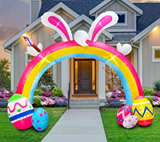 B.N.X 10 Ft Easter Inflatable Bunny Arch Way Decoration with LED Light for Home Yard Lawn Indoor Outdoor