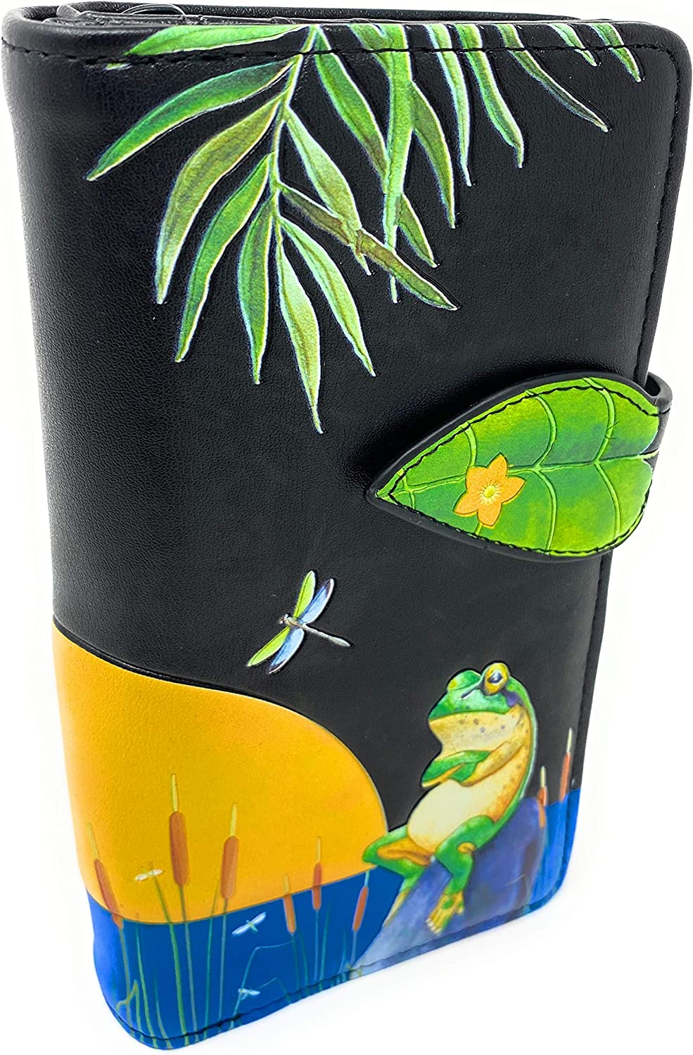 Shag Wear Large Sunset Frog Women's Ranking TOP2 BiFold Vegan Limited time for free shipping Le Wallet Black