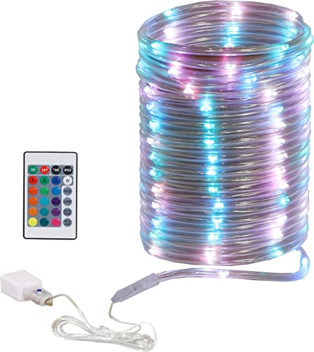 discount Sunnydaze Indoor LED Multicolor Rope Lights with Remote Control - Flexible outlet online sale Color-Changing Tube Lights for Bedroom - 100 LEDs - 16 Color Options and 4 Dynamic Settings wholesale - 32.8-Foot outlet online sale