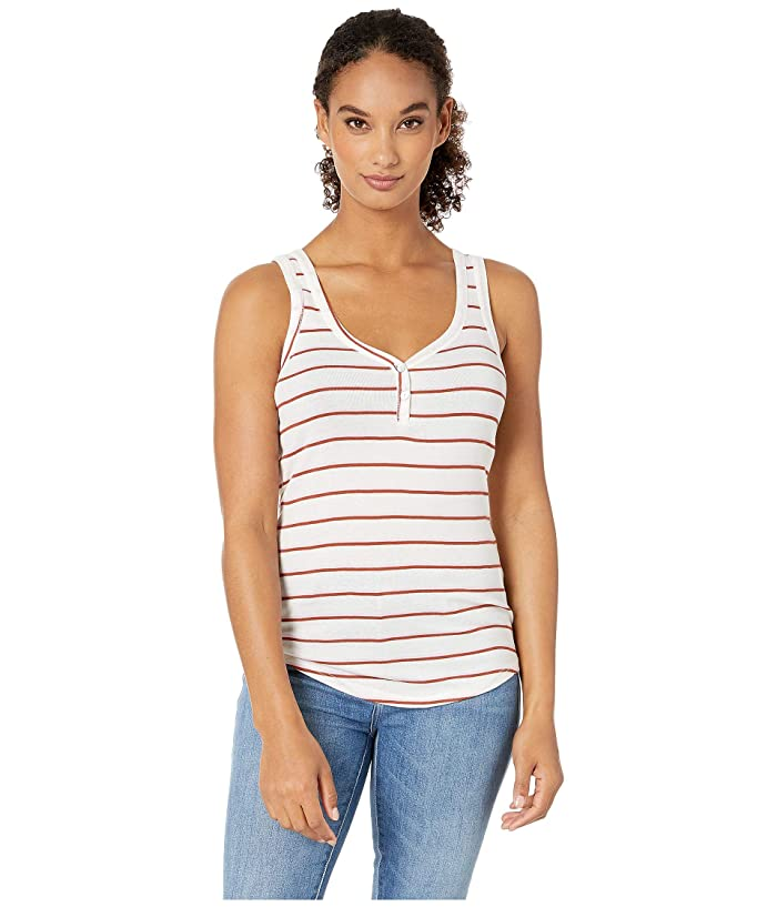 Lucky Brand  Button Detail Tank (Pink Stripe) Womens Clothing