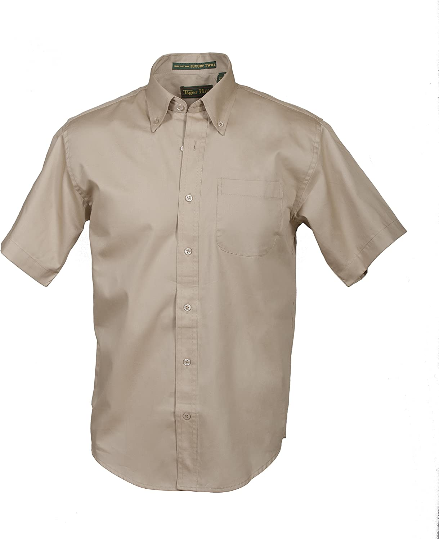 Tiger Hill Men's Short Sleeve 100% Cotton Premium Twill Shirt Khaki XXX-Large-Tall