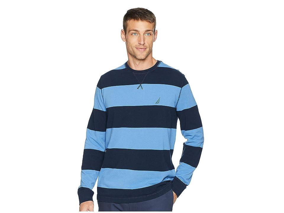 Nautica Long Sleeve Rugby Stripe Sweater (Navy) Men