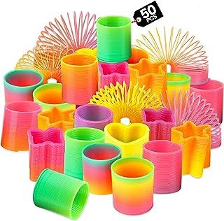 12 Pcs Novelty Party Bag Fillers Slinky Springs Loot Rainbow Elastic Ring Mini