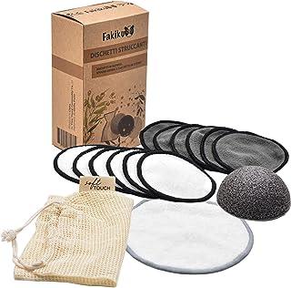 Fakiku Discos Desmaquillantes Reutilizables,Algodones Desmaquillantes Reutilizables con Bolsa de Lavandería y Esponja Konjac,Desmaquillante Facial,Extra Suave y Delicado,12 Discos y Maxi de 1