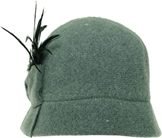 August Accessories Women's Gray Beau Feather & Bow Accented Wool Blend Hat (One Size, Gray)