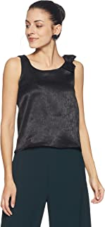 Flying Machine Women's Floral Regular Fit Vest Top (FWTO1056_Jet Black_L SL)