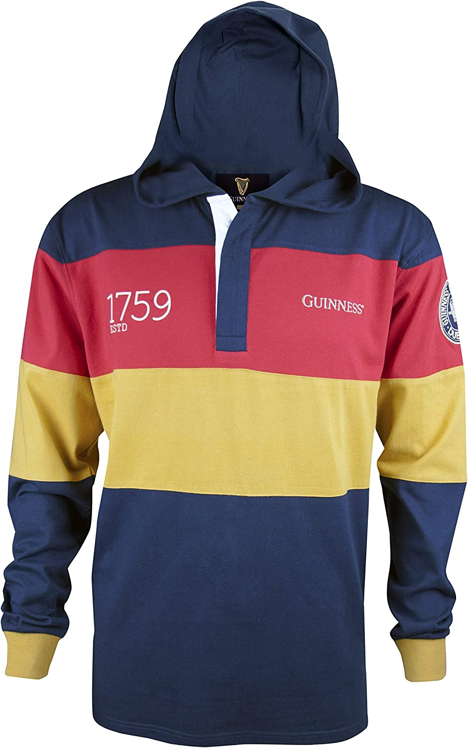 Guinness Navy Panelled Hooded Rugby Jersey