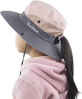 Muryobao Kids Girls Ponytail Summer Sun Hat Wide Brim UV Protection Bucket  Cap 9a82cc005fda