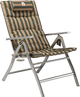 Coleman 1282795 Flat Fold 5 Position Padded Chair with GlassP, Green/Beige