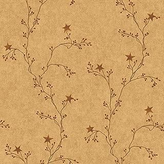 York Wallcoverings RF3526SMP Country Book Star Berry Vine Wallpaper Memo Sample, 8-Inch x 10-Inch, Terra Cotta