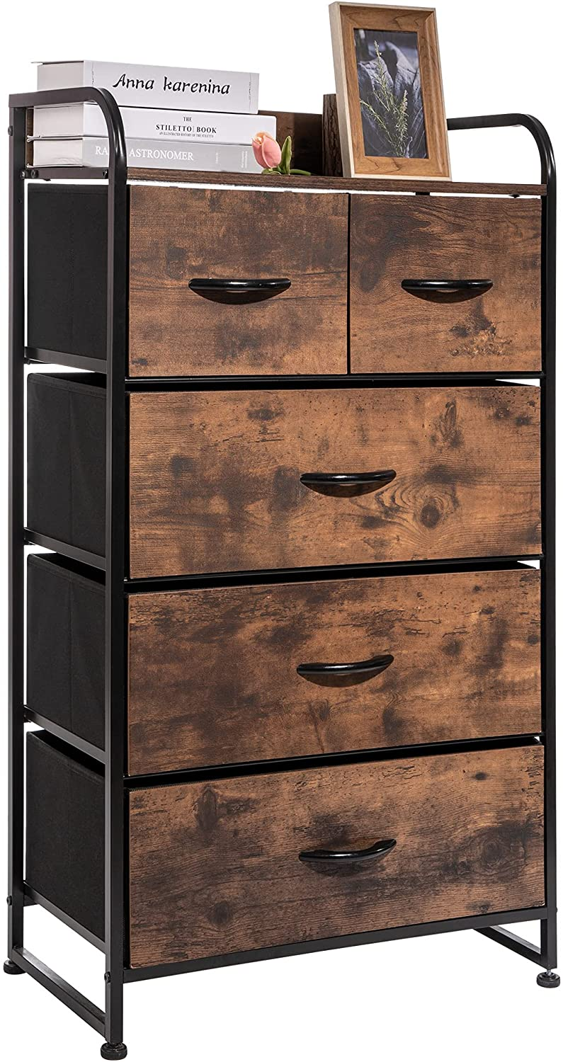 Rolife Tall Drawer Dressers Furniture Storage Tower with MDF 5 of Fabric Drawers, Storage Cloth Dresser Unit with Metal Frame for Livingroom Bedroom Hallway (Rustic)