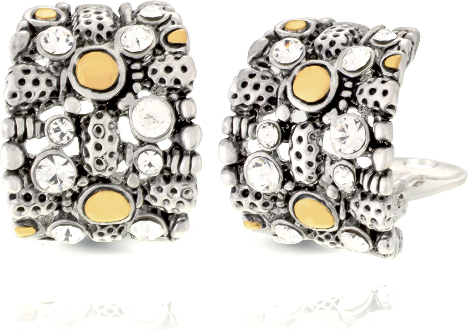 JanKuo Jewelry Two Tone Bali Antique Vintage Style Half Semi Hoop Crystals Clip On Earrings