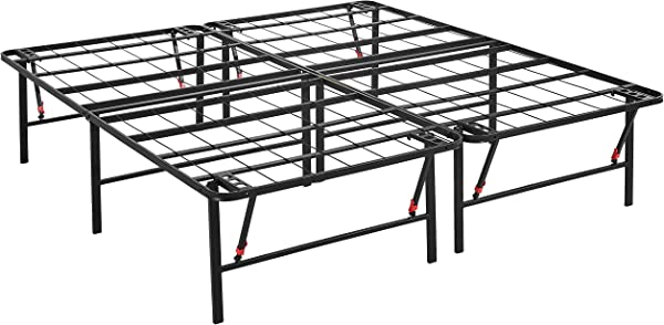 AmazonBasics Foldable Platform Bed Frame Tool Free Assembly 18 Inch Height For Under Bed Storage King