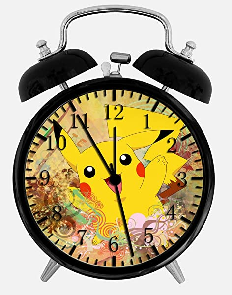 Black Pokemon Pikachu Alarm Desk Clock 4 Home Office Decor W24 Nice For Gifts