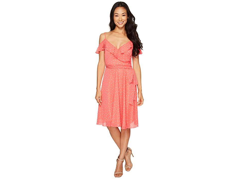 Tahari by ASL Petite Dotted Chiffon Sundress (Coral/White) Women