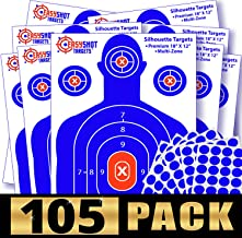 105-PACK Shooting Targets, High-Contrasting Blue & Red Colors Make it Easy to See Your Shots Land, Heavy-Duty Silhouette Paper Sheets - 150 Free Repair Stickers, Close to Wholesale Prices.