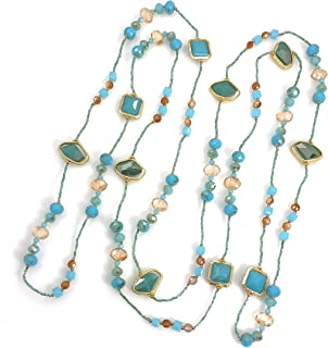 """Dragonfly Spirit Designs Necklace Handcrafted Glass and Crystal Beads 80"""" Long"""