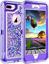 Coolden Case for iPhone 8 Plus Case Protective Glitter Case for Women Girls Cute Bling Sparkle 3D Quicksand Heavy Duty Hard Shell Shockproof TPU Case for iPhone 6s Plus 7 Plus 8 Plus, Purple