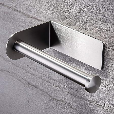 YUEMING Porta Carta Igienica,Acciaio Inox Porta Rotoli Portarotolo Carta Igienica Adesivo Senza Foratura Porta Carta Igienica da Parete,per Bagno e Toilette Accessorio