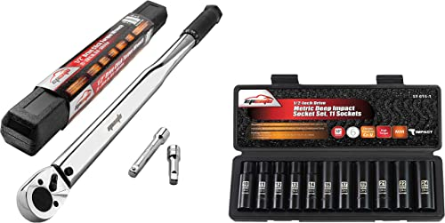 wholesale EPAuto 1/2-Inch online Drive Click Torque outlet sale Wrench + EPAuto 1/2-Inch Drive Metric Deep Impact Socket Set, Cr-V, 6 Points online