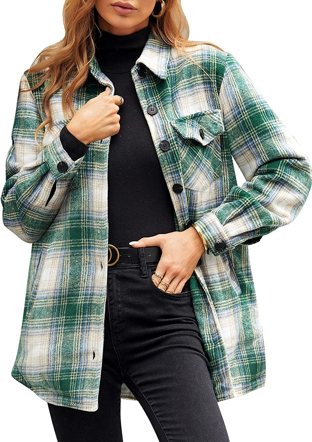 GRAPENT Women's Oversized Plaid Button Shirt Lined 2021 model Down Quilted Popular overseas