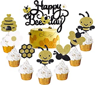 Happy Bee Day Cake Cupcake Topper Decorations for Bee Bumble Themed Happy 1st 2nd Birthday Party Bee Gender Reveal Baby Sh...