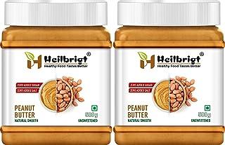 HEILBRIGT All Natural Peanut Butter Creamy Combo 500gm+500gm=1000gm (Unsweetened, Non-GMO, Gluten Free, Vegan) (1000)