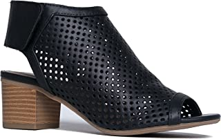Maddie Cutout Bootie - Adjustable Band Slip On Low Stacked Heel Shoes