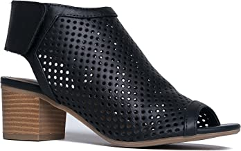 J. Adams Maddie Cutout Bootie - Adjustable Band Slip On Low Stacked Heel Shoes