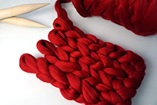 Slinamo Merino Wool Short Jersey Super Soft Thick Hand-Woven, Blanket, Scarf, Decoration, Roving, Spinning, Felt, Woven Pillow(Red-6.8Lbs-3KG)