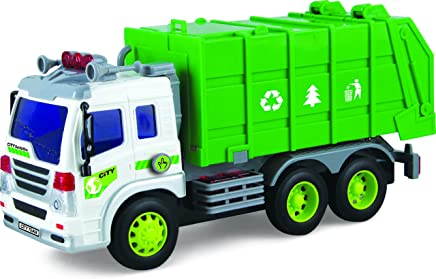 Toy Garbage Truck With Lights & Sounds TG640-G – Friction Powered Push And Go Truck Toy For Boys & Girls Aged 3+ By ThinkGizmos (Trademark Protected)