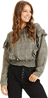 SONJA BETRO Women's Ruffle Long Sleeve Smocked Waistband Crewneck Tunic Top XX-Large Black