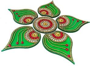 KRIWIN® Handicraft Designer Rangoli,Green Color - 10 Inch Dia - 6 Piece Set (Green)