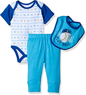 Bon Bebe Baby Boys` 3 Pc Set with Shortsleeve Bodysuit Bib & Turn-me-Round Pant
