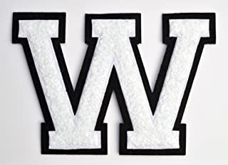 Varsity Letter Patches - White Embroidered Chenille Letterman Patch - 4 1/2 inch Iron-On Letter Initials (White, Letter W Patch)