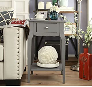 Modern Transitional 1 Drawer Accent End Table with Shelf - Includes Modhaus Living Pen (Gray