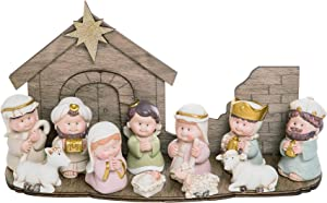 Transpac Cuties Natural 11 x 6 Resin Stone Christmas Nativity Figurines Set of 12