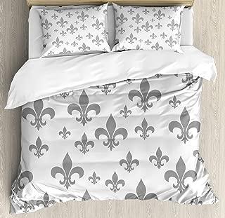 Ambesonne Fleur De Lis Duvet Cover Set, Lily Pattern Classic Retro Royal Vintage European Iris Ornamental Artwork, Decorative 3 Piece Bedding Set with 2 Pillow Shams, King Size, Grey