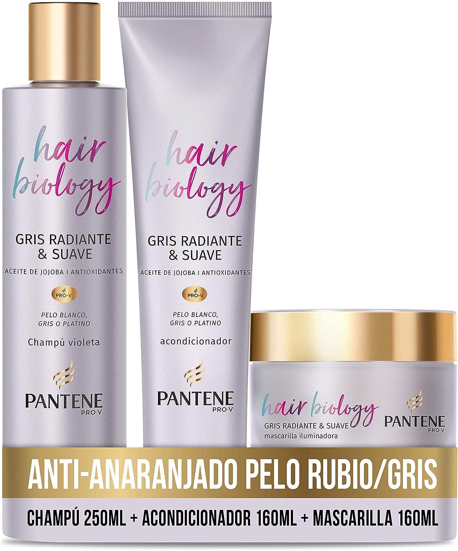 Pantene Hair Biology Matizador Cabello Rubio Con Aceite De Jojoba Y Antioxidantes Champu Azul 250ml + Acondiconador 160ml + Mascarilla Color 160ml Champu Morado