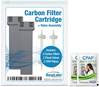 RespLabs Medical Inc. Generic Carbon Cartridge Filter Kit Replacement, Also Includes Travel CPAP Wipes, 2 Pack.