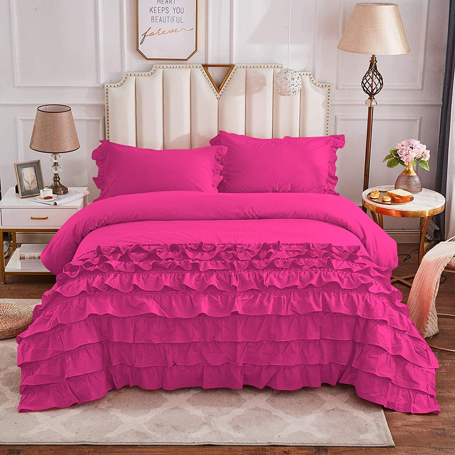 Under blast sales Silver Cotton Full New Orleans Mall Queen Size Vintage Bedding Ruffled Girls Cut