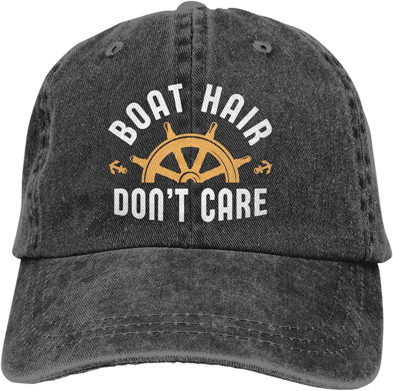 Boat Hair Don't Care Cowboy Hat,Washed Cotton Baseball Cap Adjustable Baseball Caps Sun Hat(Unisex)