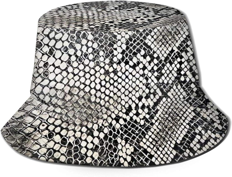 Snake Skin Texture Bucket Hat Unisex Sun Hat Summer Packable Fisherman Hats Black