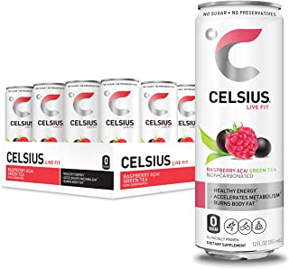 CELSIUS Raspberry Acai Green Tea Non-Carbonated Fitness Drink, Zero Sugar, 12oz. Slim Can (Pack of 12)