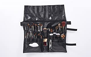 Professional Makeup Artist Apron Bag for Women and Men by RG Makeup | Makeup Brush Organizer Apron with 27 Pockets | Adjustable Apron Belt Fits To 51 Inches for Plus Size | Quality Black PU Material