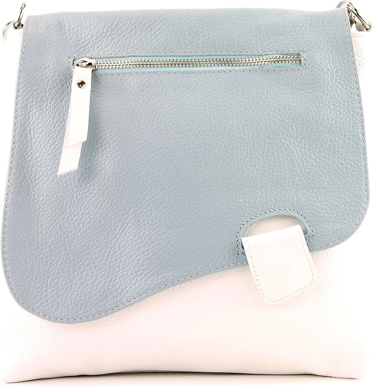 modamoda de - messager ital/sac à bandoulière en cuir T146 Blanc/Bleu Glace