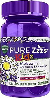 Vicks Pure Zzzs Kidz Melatonin Lavender & Chamomile Sleep Aid Gummies for Kids & Children, Natural Berry Flavor, 0.5mg per gummy, 48 Ct