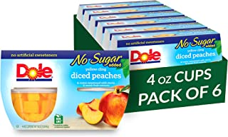 Dole Fruit Bowls, Peaches Diced in Water, No Sugar Added, 4 Count, 4 Ounce Cups (Pack of 6) - 24 Total Cups